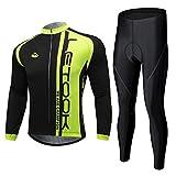 Letook Completo Ciclismo Uomo, Completo Bici Body Tuta Ciclismo Maglia Bici Manica Lunga e Pantaloni 100168 L