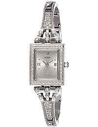 Guess - Reloj de cuarzo para mujer, correa de acero inoxidable, plateado