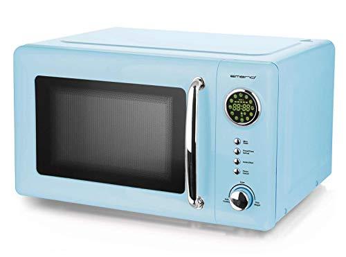Blaue 700 Watt Mikrowelle 20 Liter Garraum Drehteller Retro Design Emerio MW-112141.2 baby-blau Mikrowellen-Gerät hell-blau
