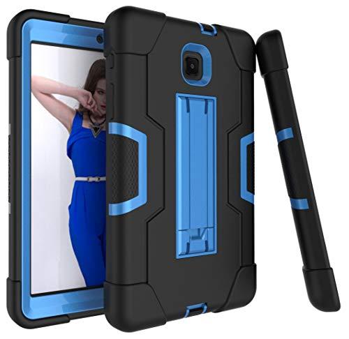Dooge Schutzhülle für Galaxy Tab A 8.0 2018, 3-lagig, Polycarbonat, stoßdämpfend, robust, Hybrid-Schutzhülle mit Ständer für Samsung Galaxy Tab A 8 (2018) SM-T387 Verizon/Sprint, schwarz/blau