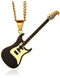 Vnox Guitarra de Acero Inoxidable Reproductor de Música Amante Colgante de Collar de Joyería de Jazz para Hombres Mujeres