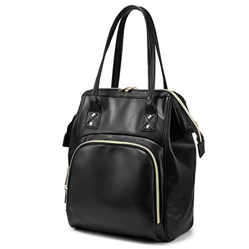Rucksack Damen Handtasche Schultertasche Große Kunstleder Rucksack Tasche 2 in 1 Schwarz -