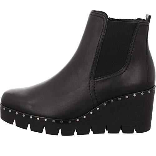 Gabor Damen Keilstiefeletten 93.785,Frauen Stiefel,Boots,Halbstiefel,Wedge-Bootie,Nieten,Blockabsatz 5cm,F Weite (Normal),schwarz (Nieten),UK 5.5