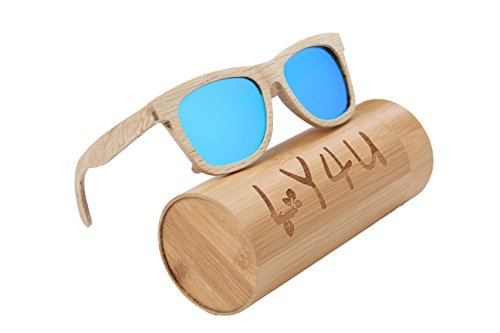 LY4U Holz Herren und Damen Sonnenbrille, Vintage Brillen, Schwimmende Sonnenbrille mit Bamboo Box