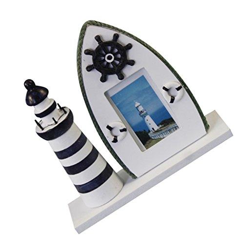 Sharplace Mediterranen Stil Leuchtturm Fotorahmen Bilderrahmen Tisch Deko - Ruder, 19x6x18.5cm