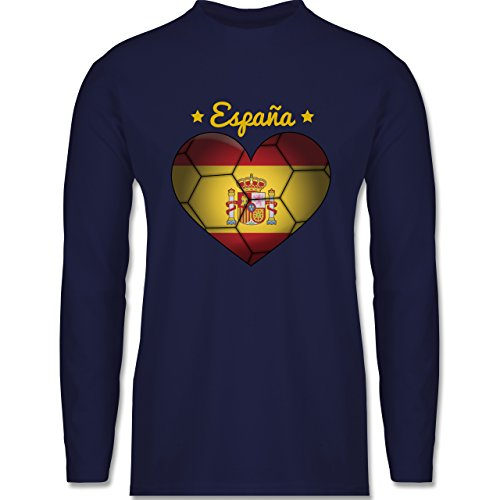 Shirtracer Handball - Handballherz Spanien - Herren Langarmshirt Navy Blau