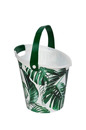 Kreher Eimer aus Kunststoff, Wassereimer mit 10 Liter Volumen. Mit Griff und Palmenblätter Design. Multifunktional, abwaschbar, robust.
