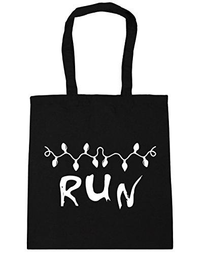 hippowarehouse Run Weihnachten Light Nachricht Tote Shopping Gym Beach Bag 42cm 3838, 10Liter, schwarz, One Size (Bag Kompass Tote Schwarz)