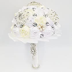 E-muse Vintage Ramo de Novia Artificial de Flores para Novia Hecho a Mano con las Perlas y Diamantes, Blanco y Champagne Satén Rose