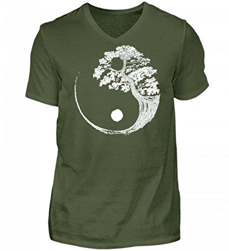 SwayShirt Hochwertiges Herren V-Neck Shirt - Yin Yang Bonsai Baum Japan Buddha Zen Yoga Meditation Kanji Geschenk (Shirt Baum)