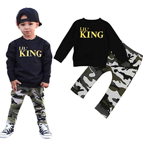 MEIbax Baby Jungen Brief T-Shirt Tops + Camouflage Hosen Outfits Kleidung Set Langarmshirt Bodys...