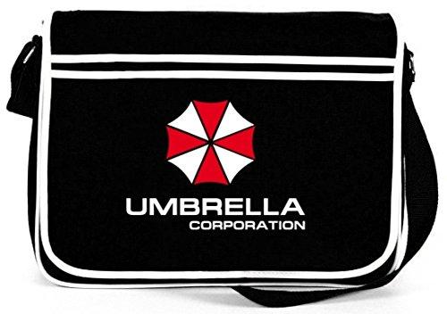 Shirtstreet24, Umbrella Corporation, Retro Messenger Bag Kuriertasche Umhängetasche , Größe: onesize,Schwarz