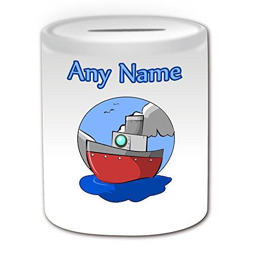 Personalisiertes Geschenk–Schiff Spardose (Design Thema, weiß)–Für jede Nachricht/Name auf Ihrem Einzigartige–Wasser Boot Cruiser Kabine Yacht Motor Sailer Treiber Sea Ocean (Treiber Schiff)