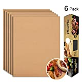 Grill Mat Set of 6-100% Non-Stick BBQ Grill Mats, Heavy Duty, Reusable, and Easy to Clean - Works on Electric Grill Gas Charcoal BBQ - Extended Warranty - 15.75 x 13-Inch, Copper