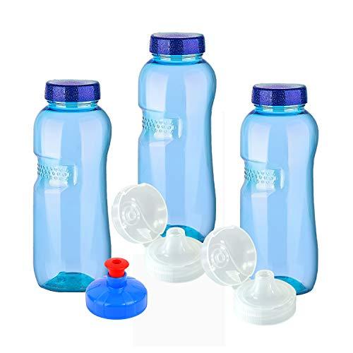 3 x Original Trinkflaschen aus TRITAN ohne Weichmacher Sparset 3 x 0,5 Liter (rund) + 3 Standartdeckel + 2 Sportdeckel (FlipTop) + 1 Trinkdeckel (Push PULL) BPA/BPS frei geruchsfrei geschmacksneutral