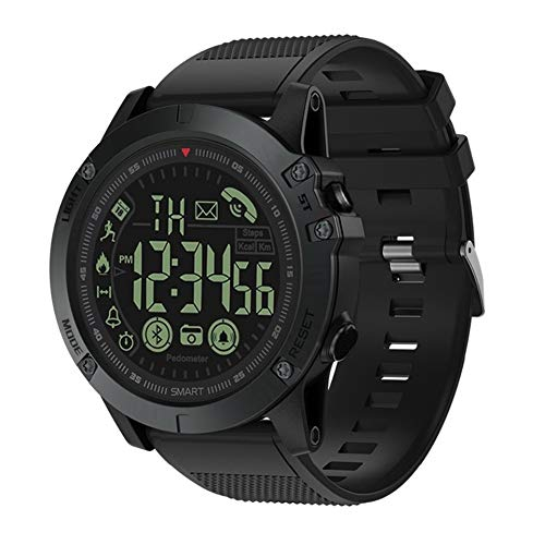 KLAYL Intelligente Uhr Intelligente Uhr Bluetooth V4.0 Smart Wristbands Outdoor Sports wasserdichte Smart Watch Tactical Military Remote Camera Watch, Schwarz