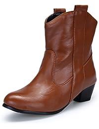 QIN&X Chaussures femmes talons Talon Chaussures Bottillons Courts,44,jaune à franges