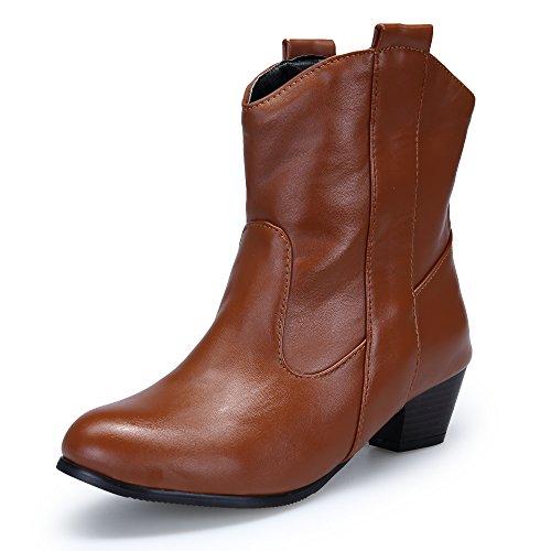 Dafenp Ladies Pumps Chelsea Boots Stivaletti Chunky Tacchi Alti Tacco Largo Giallo