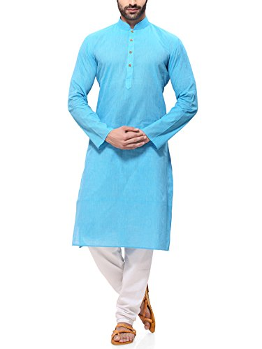 RG Designers Men's Cotton Kurta Pajama Set (HandloomLightBlueKurta Pajama Set44_Blue_XX-Large)
