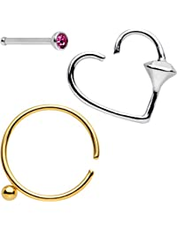 """Body Candy Steel Queen Of Hearts Nose Bone Heart Closure Ring Pack Of 3 20 Gauge 3/8""""1/4"""""""