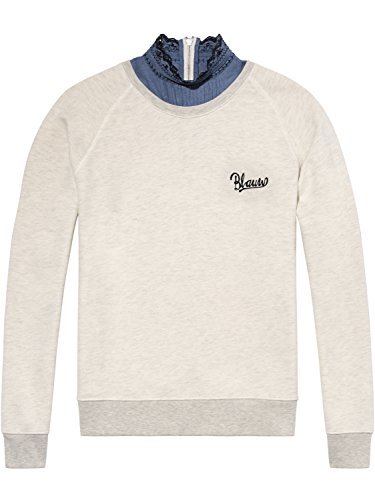 Scotch & Soda Maison Damen Sweatshirt Super Soft Sweat mit Woven Collar, Grau (Grey Melange 0G), Large