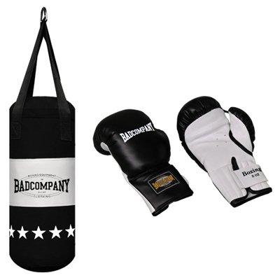 Profi Jugend Box-Set inkl. Canvas Boxsack 60 x 25cm gefüllt (8,7 Kg) und 8-OZ PVC Boxhandschuhe schwarz
