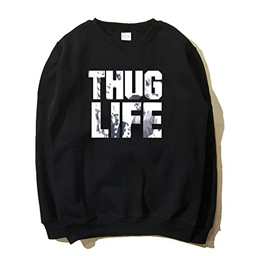Thuglife Hiphop Rap Herbst Winter Schwarz Sweatershirt Pullover Cosplay Kostüm (M, 1) (Rap Kostüme)