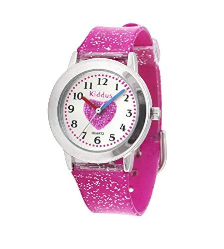 KIDDUS Modische Mädchenuhr für Kinder. Analoge Armbanduhr für Kinder mit Übungen zum Uhrzeit Lernen und hochwertigem japanischen Quarzwerk. Süß, stylisch, elegant und fabelhaft. FAB2 Herz