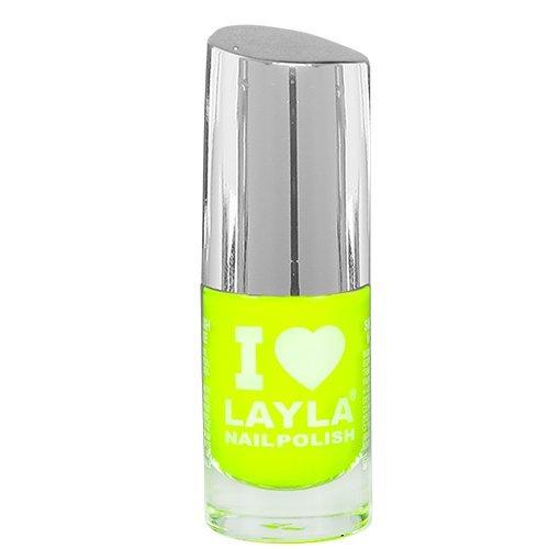 Layla Cosmetics 1258R23-004 I Love Layla Smalto, Tonalità 04 Yellow Fluo