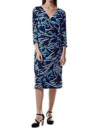 55251cf53f5 Miss Via 8801102 Damen modisches Kleid in Wickeloptik mit V-Ausschnitt  Stretch