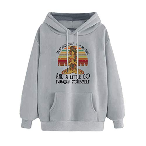 Pullover Damen Kapuzenpullover Top Xjp Kapuzenpullis Frauen Hoodies Drucken Langarm Lässig Hooded Pullover Für Damen(Grau1,L)