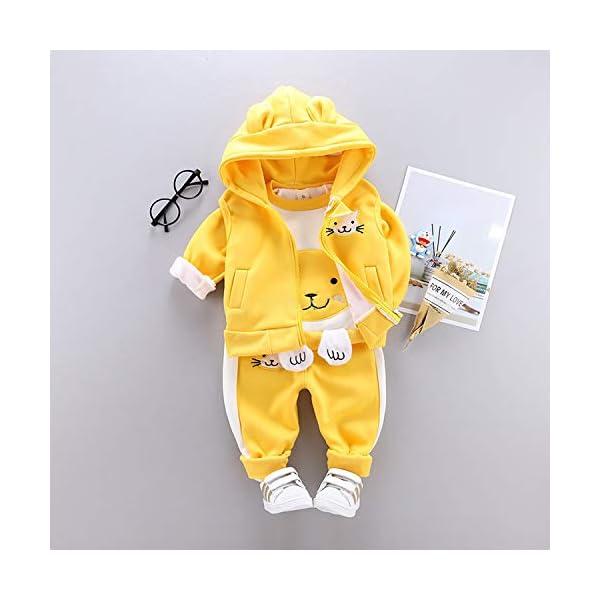 Unique Life - Abrigo de Cintura cálido para bebés y niñas con diseño de otoño + Sudadera + Pantalones, 3 Piezas, Traje… 3