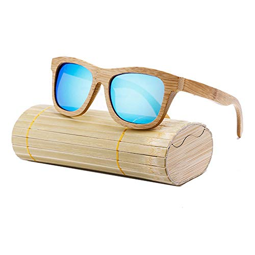 gfhjgjhj Damen Herren Sonnenbrille Holz Bambus Sonnenbrille Polarisierend Überzug Linse Sonnenbrille mit Etui - Blau, 1