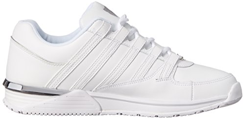 K-Swiss BAXTER, Sneakers basses homme Blanc - Weiß (WHITE/SILVER 155)