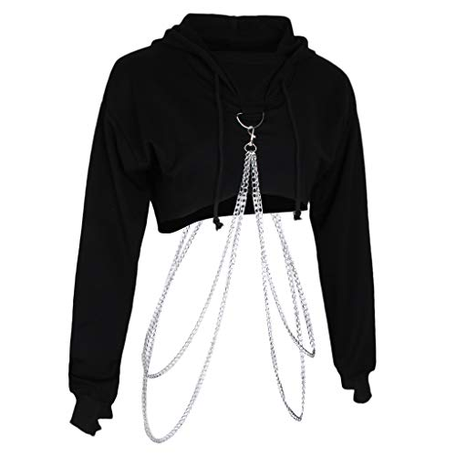 sharprepublic Damen Kapuzen Pullover Sweatshirt Crop Top Strickjacke Sweater Jumper Hooded mit Metall Kette - Schwarz, M
