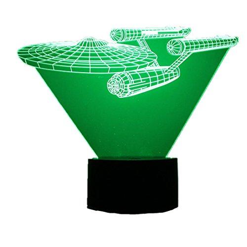 Upxiang 3D optische Illusionslampe, 3D Visualisierung Tischlampe LED Steuertisch Lampe, Nachtlicht Home Decor Regenbogen Nachtlicht (Raumfahrzeug)