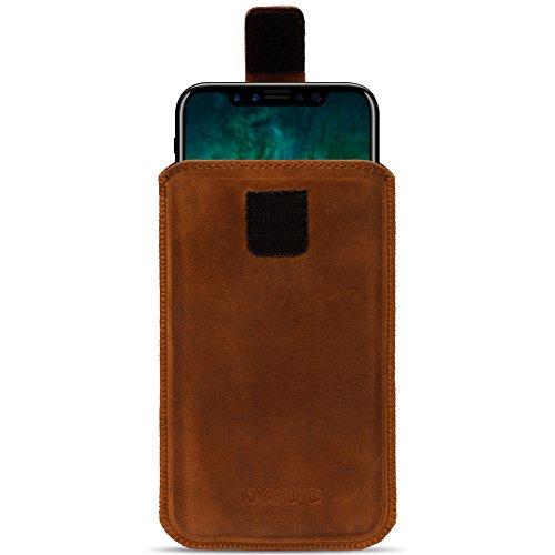 Leder Tasche für Apple iPhone Serie Pull Tab Sleeve Hülle Schutzhülle Lederhülle Case Cover Ledertasche, Farbe:Schwarz, Smartphone:Apple iPhone 8 Plus cognac Braun