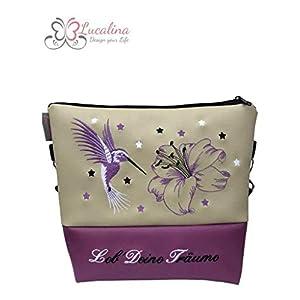 Handtasche Kolibri mit Lilie Schultertasche/Umhängetasche *bestickt