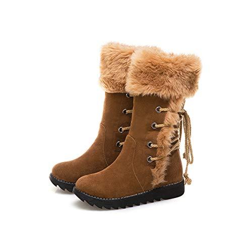 DANDANJIE Damen Stiefel Lace-up Mid-Calf Stiefel mit niedlichen Low Heel British Style Stiefel für 2018 Winter (Farbe : Braun, Größe : 38 EU) - Braun Mid Calf High Heel