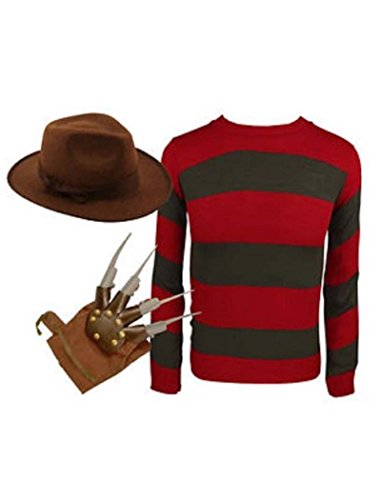 Herren Freddy Red & Green Stripe gestrickter Jumper Hut Handschuh Kostüm (Large, Jumper+Hat+Gloves)