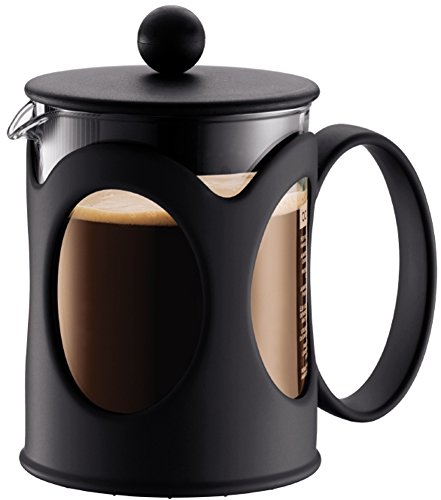 Bodum kenya Kaffeebereiter (French Press System, Permanent Edelstahl-Filter, 0,5 liters) schwarz