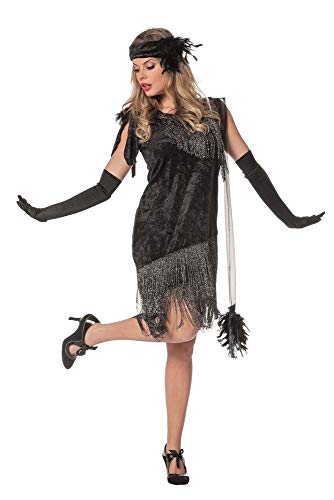 Flapper Kostüm Gatsby Girl - Charleston Flapper Damen Kostüm Schwarz Fransenkleid Stirnband 20er Jahre Kleid 20's Gatsby Girl, Größe:52