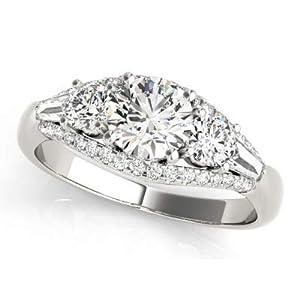 Damen-Ring 1,75 Karat Solitär Moissanit massiv weiß-gelbe Rose echt 14 K Gold mit Punze