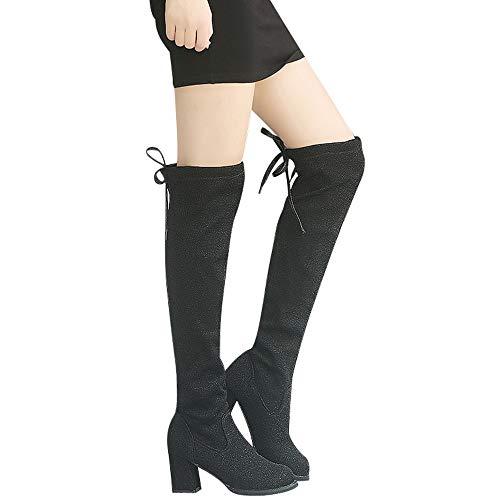 MYMYG Frauen Stiefel Sequin Lace-Up Round Toe Hohe Stiefel Overknee Stiefel High Heels Schuhe Schuhe Baumwolle Winterschuhe Blockabsatz Stiefeletten