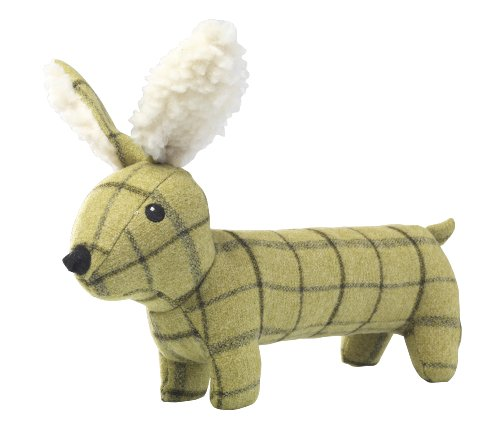 House of Paws Tweed Plush Long Hare Dog Toy, Green 1
