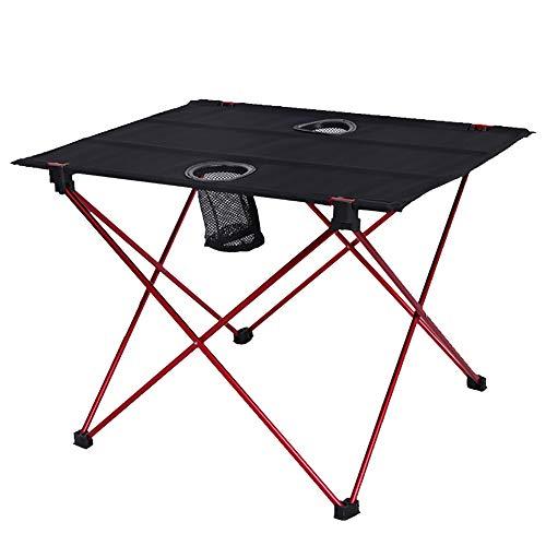 LIPAI Table Pliante ExtéRieure Table Pliante en Alliage D'Aluminium Table Portable LumièRe Double Oxford Camping Barbecue Table De Pique-Nique Rouge 56 * 42 * 40cm