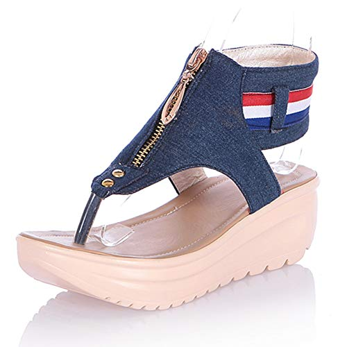 MENGLTX High Heels Sandalen Neue Casual Denim Sandalen Frau Sommer Starke Absätze Keile Sandalen Frauen Komfort Schuhe Frau Plus Größe 34-44 10,5 Marineblau -