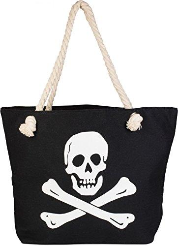 styleBREAKER Strandtasche mit Totenkopf Aufdruck und Reißverschluss, Badetasche, Schultertasche, Shopper, Damen 02012104, Farbe:Schwarz-Weiß (Schwarz Kompass Tote Bag)