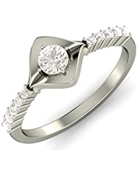 KuberBox 14K White Gold Diamond Ring