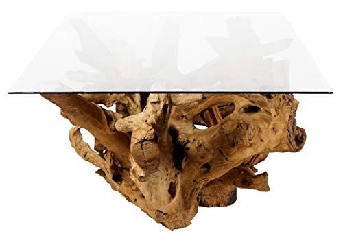 Windalf XXL Table à Manger avec Plateau en Verre Unique Fabriqué à la Main en Bois de Racine 200 cm x 82 cm